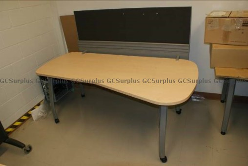 Picture of Wooden Table with Steel Legs a